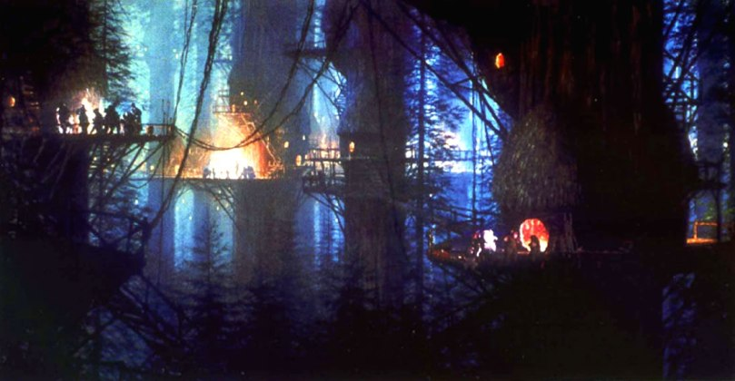 an-ewok-village-at-night