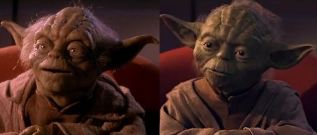 Puppet and New CGI Phantom Menace Yoda